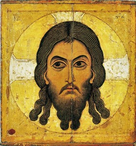 Christ Acheiropoietos. A 12th-century Novgorod icon from the Assumption Cathedral in the Moscow Kremlin.