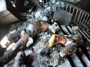 Citizens of Odessa burnt alive at the Trade Unionist hall set on fire by Ukrainian ultra-Nazis on May 2, 2014.