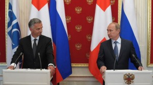 Russian President Vladimir Putin and OSCE Chairperson-in-Office Didier Burkhalter meeting in Krempin on May 7, 2014