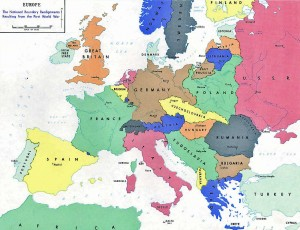 Map of Europe after WWI until 1929