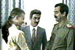 US Ambassador April Glaspie met Saddam Hussein on July 25, 1990, just a week before the Iraqi invasion of Kuwait.