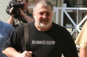 "Ukrainian oligarch of Jewish origin Ihor Kolomoisky wearing a T-shirt with the ""Right Sector"" logo."