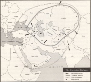 "Map of the Eurasian Balkans ""war on terrorism"" from the book The Grand Chessboard by Brzezinski. page 124. 1997"