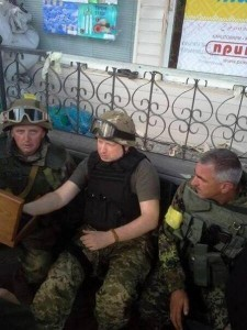 "Photo taken at the outskirts of Slavyansk, at the HQ of Ukrainian ""antiterrorist operation"" command. Jerzy Dziewulski (left) and Alexander Turchinov (center)."