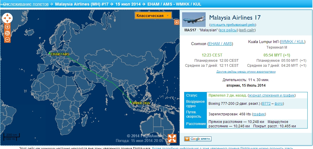 Flight route MH-17 on July 15, 2014 (Source: flightaware.com)