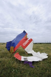 A piece of wreckage of the Malaysia Airlines flight MH17.