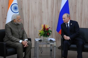 Vladimir Putin meeting with Indian PM Narendra Modi, July 2014.