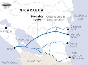 Major Chinese infrastructure project in Latin America -proposed transoceanic Nicaragua canal.