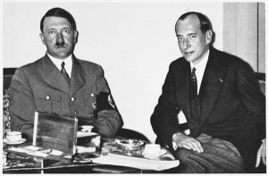 Adolf Hitler and Polish Foreign Minister Jozef Beck meet together in 1937.
