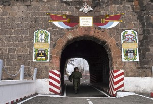 The gate to 102nd Russian base in Gyumri (Armenia), which is in use by the Russian military since 1839.