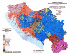 Map of ethnic divisions in Yugoslavia