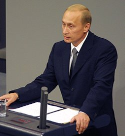 Vladimir Putin speaks in Bundestag on September 25, 2001.