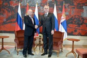 Vladimir Putin with Tomislav Nikolic, Belgrade October 16, 2014