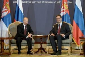Vladimir Putin and Serbian PM Alexander Vucic