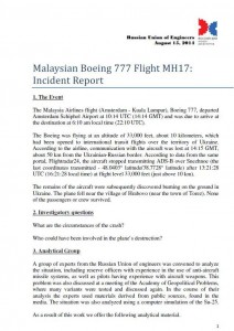 The full text in English of MH17 Incident Report released by the Russian Union of Engineers on August 15, 2014 is available for download here.