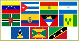 National flags of the ALBA member countries from left to right: Bolivarian Republic of Venezuela, Republic of Cuba, Plurinational State of Bolivia, Republic of Nicaragua, Commonwealth of Dominica, Republic of Ecuador, Antigua and Barbuda, Saint Vincent and the Grenadines, Saint Lucia, Grenada, and the Federation of Saint Kitts and Nevis