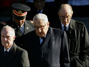 Both Kissinger (in the middle) and Greenspan (on the right) have forged such strong US policies favourable towards Israel that it is next to impossible to reverse those. Any attempt would be considered as treason.