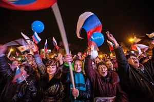 Residents of Crimea celebrating reunification with Russia, March 2014