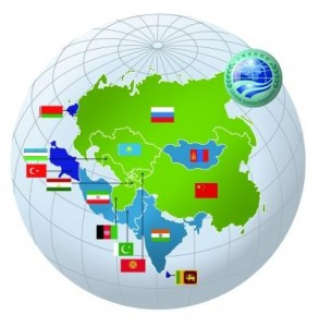 Map of SCO: Green: members; Light blue: observers; Dark blue: dialogue partners.
