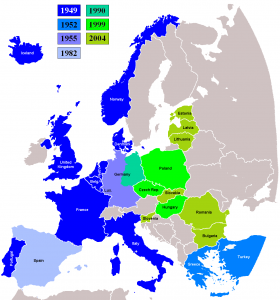NATO expansion map, 1949-2004