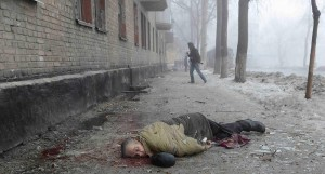 A victim of Jan 29 Ukrainian bombardment of Donetsk. According to OSCE reports, the death toll of the civil conflict in the East of Ukraine has exceeded 5000 people.