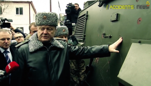Ukrainian Pres. Petro Poroschenko touches the Saxon's thin armor. Photo via Accidents News