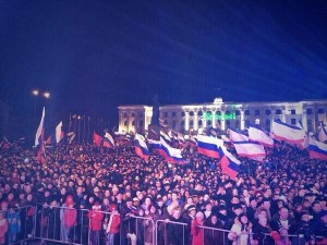 Pro-reunification rally in Simferopol, March 16, 2014.