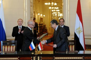Singing of bilateral documents after Egypt Russia talks.