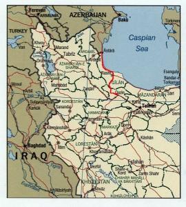 Qazvin-Rasht-Astara railway under construction connecting Iran and Azerbaijan is marked in red.