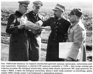 General Malinowski explaining operational situation to Nazi German guests during Polish military maneuvers in Volhynia (currently Western Ukraine)  in 1938. The show was aimed to demonstrate Polish readiness to fight Red Army.