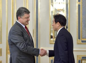 Minister of Foreign Affairs of Japan and Petro Poroshenko