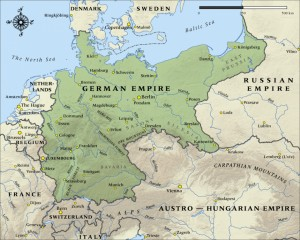 Map of German Empire in 1914.