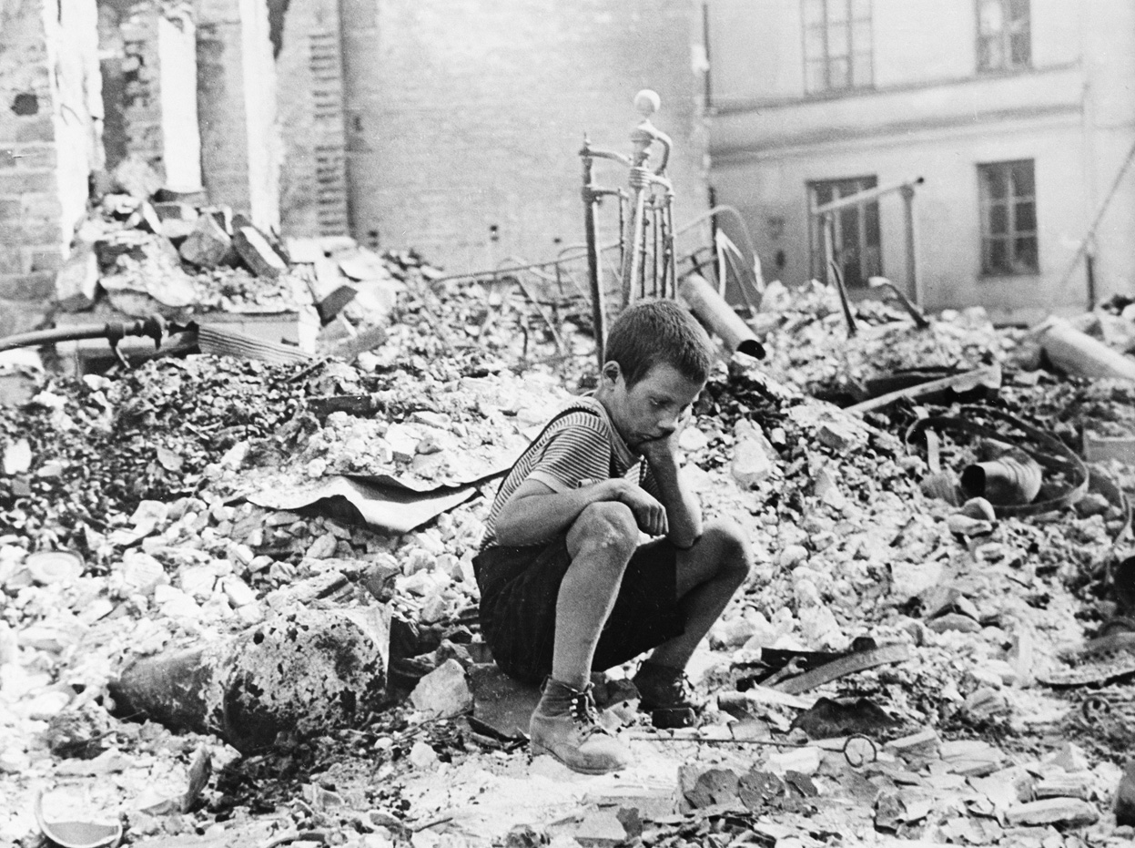 Polish boy in the ruins of Warsaw September 1939.