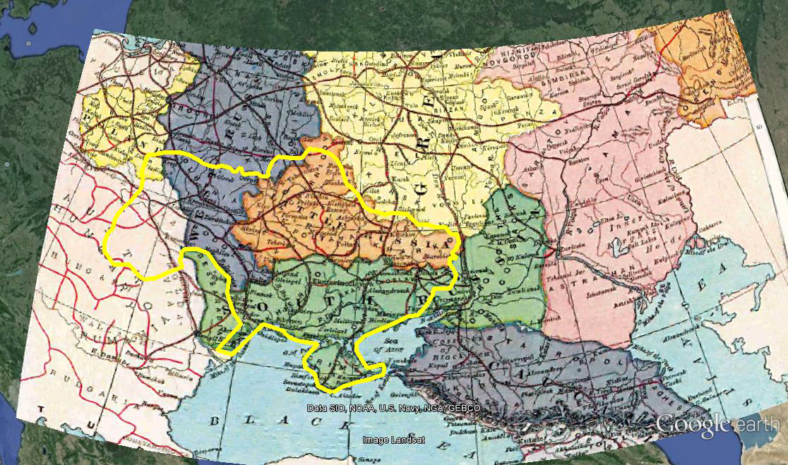 "Modern Ukraine outlined in Yellow. Note how it was a mixture of Polish, Hapsburg, ethnic Russian, and ""Little Russian"" (Ukrainian) lands back in 1896."