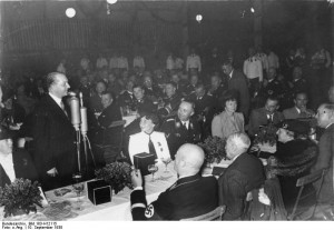 Polish ambassador Josef Lipski speaking at a Nazi Party rally, Nürnberg, Germany, 10 Sep 1938; 7 months later he will dare to reject German proposals on Danzig corridor. Source: German Federal Archive