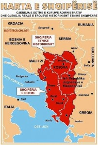 A map representing territorial ambitions of the Albanian nationalists.