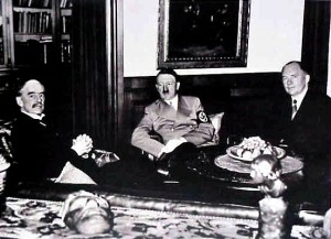 Neville Chamberlain and Edouard Daladier with Adolf Hitler Munich Conference, 1938