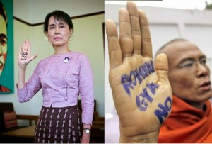 "Aung San Suu Kyi, (left) purveyor of Western ""pro-democracy"" gags, now finds herself presiding over a movement using these gimmicks to call for racial genocide. A ""monk"" (right) puts his US State Department subsidized color revolution training to a new use... calling for genocide. So far, Suu Kyi has categorically failed to condemn the violence mainly because it is being carried out by the backbone of her own political network. Source: Land Destroyer"