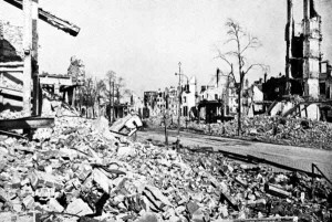 A section of Hamburg lies in ruins in 1946.  It took years to rebuild Hamburg and the other German cities devastated by Allied bombing raids during WWII.