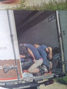 Corpses of suffocated refugees found in a container in Austria.