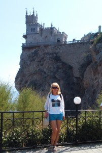 The author nearly the Swallow's Nest, a a decorative castle located at Gaspra, one of Crimea's basic attractions.