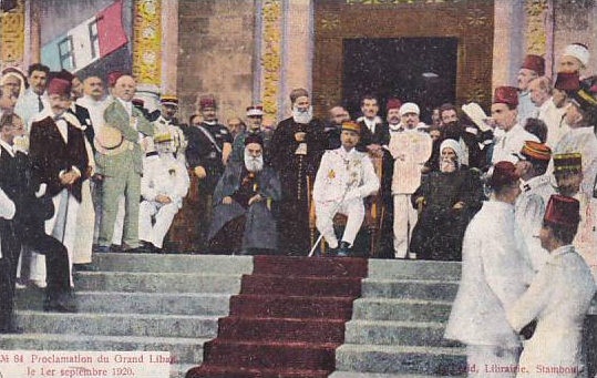 Proclamation of the state of Greater Lebanon, Gouraud with Grand Mufti of Beirut Sheikh Mustafa Naja, and on his right is the Maronite Patriarch Elias Peter Hoayek, Sept 1, 1920.