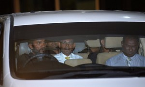 The former Maldives president Mohamed Nasheed, centre, is driven away after attending a hearing on the terrorism charges filed against him in Malé on 5 March, 2015