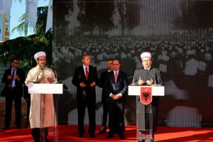 President of Albania, Bujar Nishani and President of Turkey, Recep Tayyp Erdogan attend the foundation stone ceremony on Mosque of Namazgja site in Tirana, May 2015.
