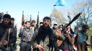 "Turkmen ""villagers"" from Sultan Abdulhamit Han Brigade. In the centre their commander, Ömer Abdullah"