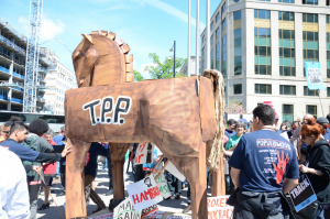 """Stop Fast Track"" rally in Washington D.C., April 2015."