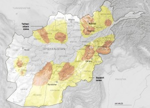 Taliban dominance and influence areas are marked in red and yellow.