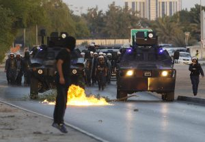 Bahrain anti-riot police used buckshot, sound grenades and tear gas on Shia protesters, Oct 2013.