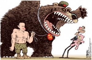 "A typical primitive propaganda cartoon depicting ""aggressive Russia"" for Western public."