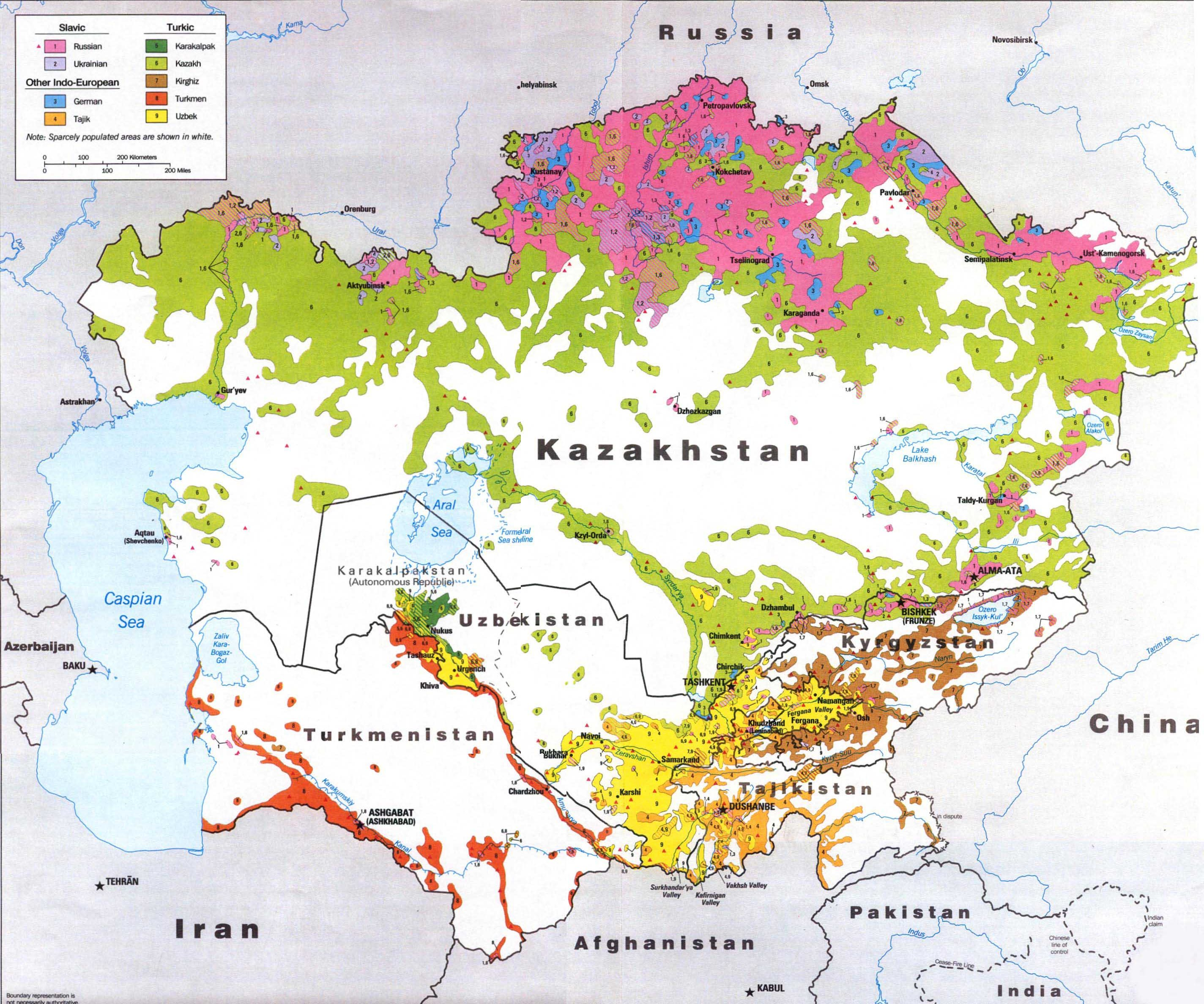 Major ethnic groups in Central Asia